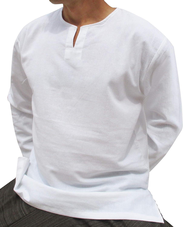 RaanPahMuang Brand Soft Summer Textured Cotton Open Slit Collar Long Sleeve Plus Shirt