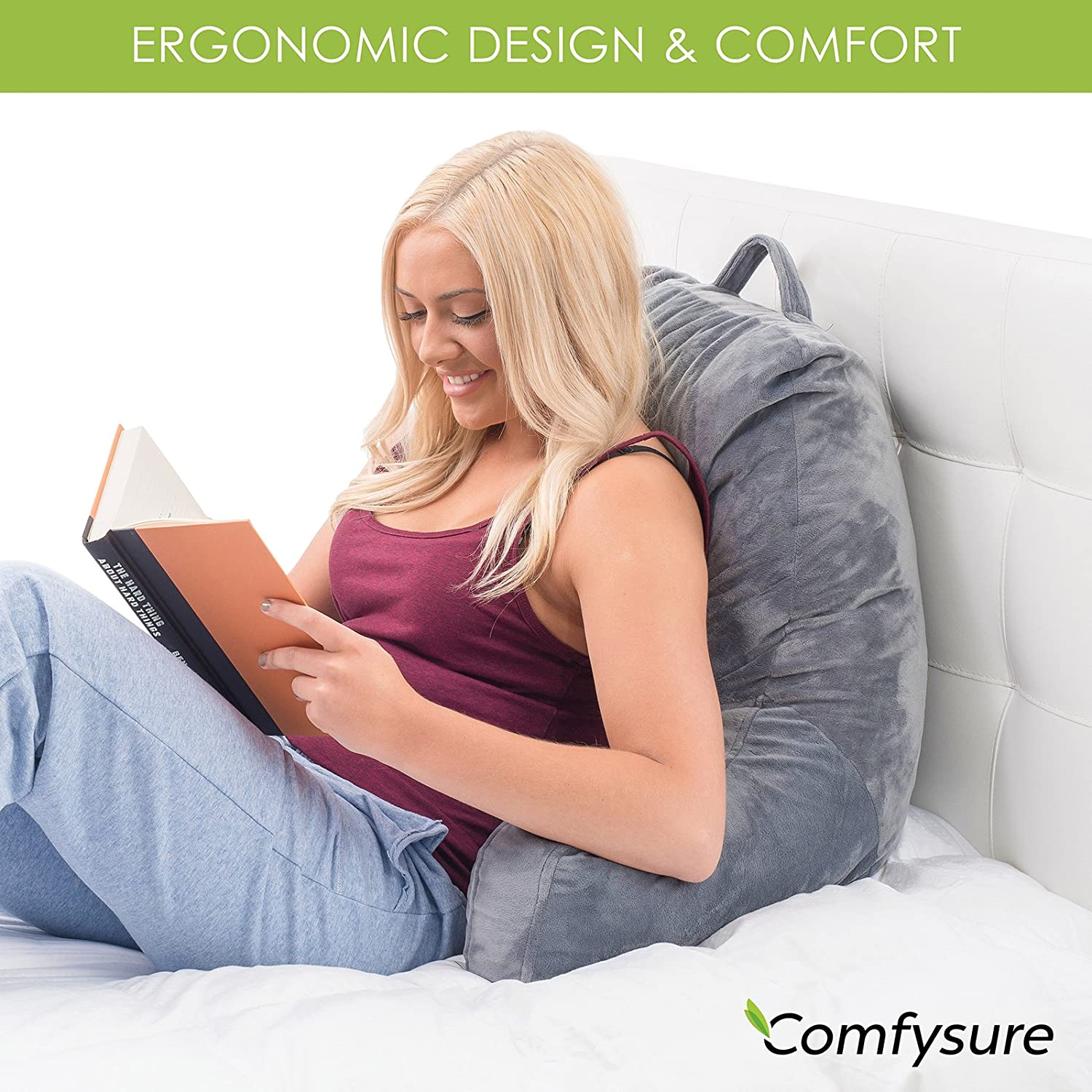best reading pillows of 2019 top 5 products for sitting up in bed. Black Bedroom Furniture Sets. Home Design Ideas