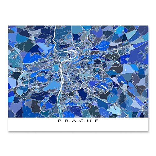 Amazon.com: Prague Map Art Print, Czech Republic, Europe Travel ...