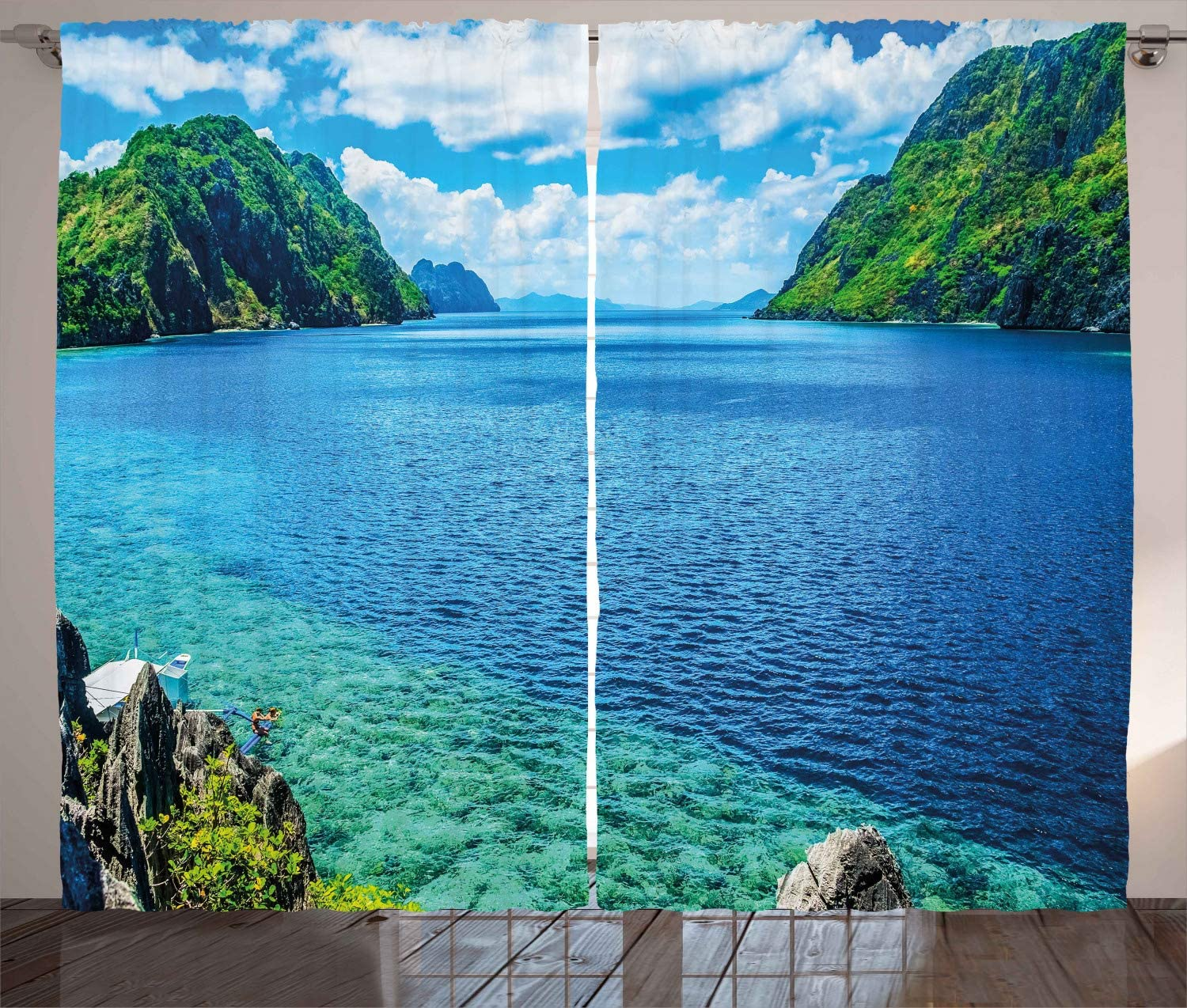 Ambesonne Nature Curtains, Scenic View Sea Bay and Mountain Islands in Palawan Philippines Idyllic Image, Living Room Bedroom Window Drapes 2 Panel Set, 108