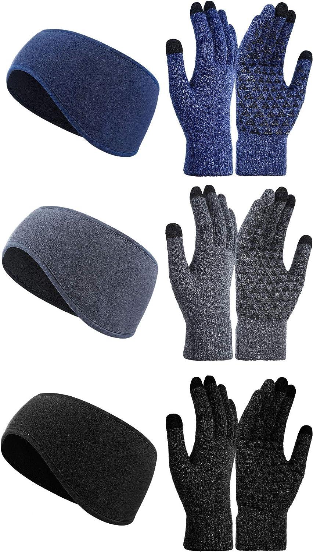 6 Piece Winter Touchscreen Gloves Running Headband Ear Warmer Unisex Anti-Slip Gloves Winter Ear Cover Running Ear Muffs for Men and Women Winter Sports Ski Jogging Cycling