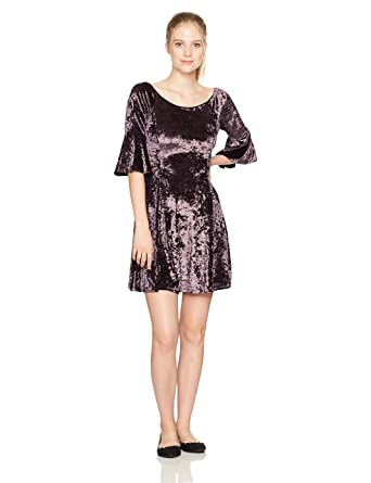 Amazon.com  Angie Women s Purple Crushed Velvet Skater Dress with 1 2 Bell  Sleeves  Clothing b3aa5370b