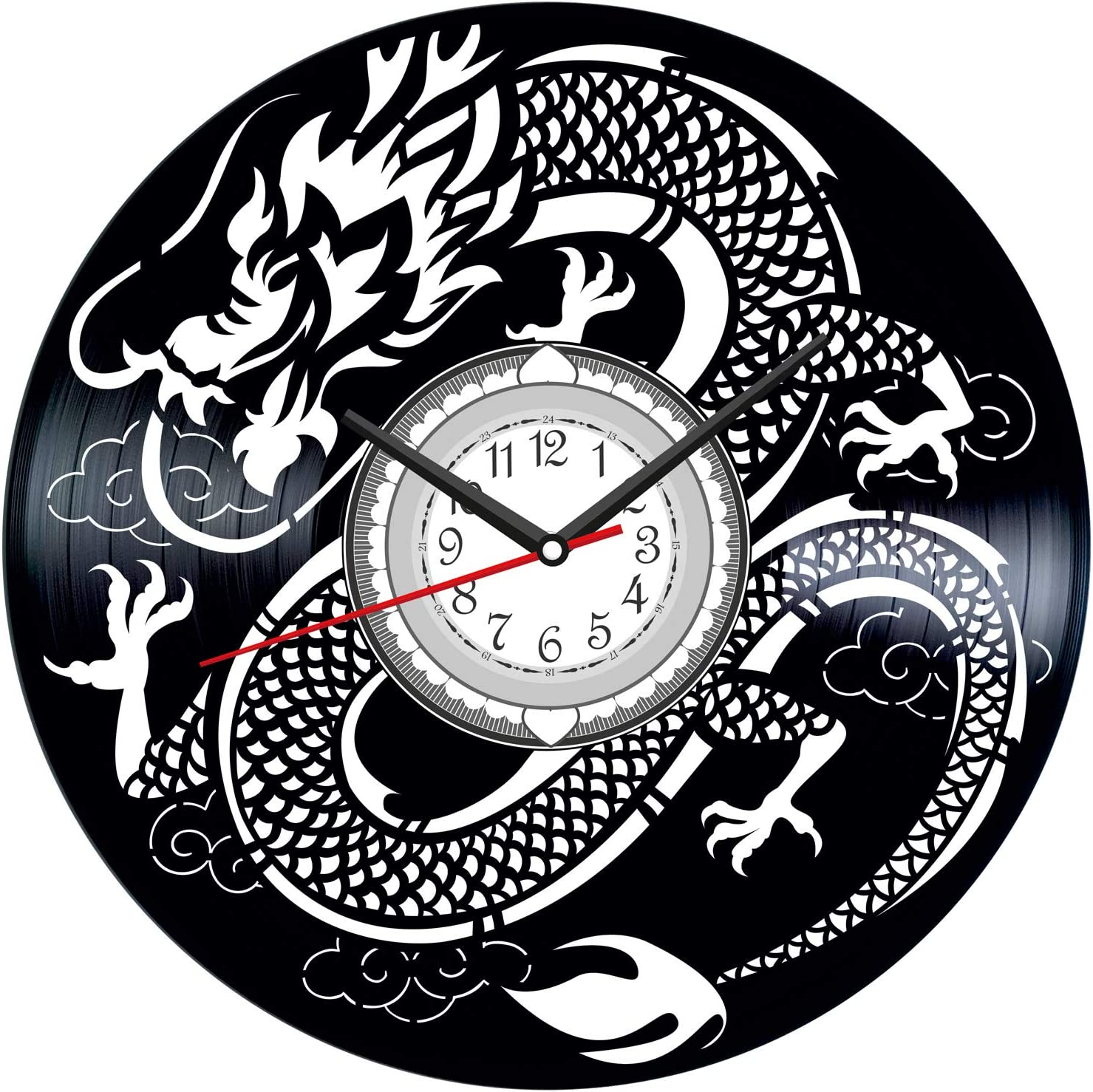 Japanese Dragon Vintage Vinyl Wall Clock - Great Home Decor for Bedroom Kitchen Living Room Idea Birthday Christmas Anniversary for Him Her - Unique Wall Art - Size 12 Inches