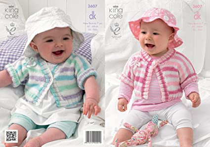 e97dc619c Image Unavailable. Image not available for. Color  King Cole Baby Double Knitting  Pattern Striped Cardigans ...