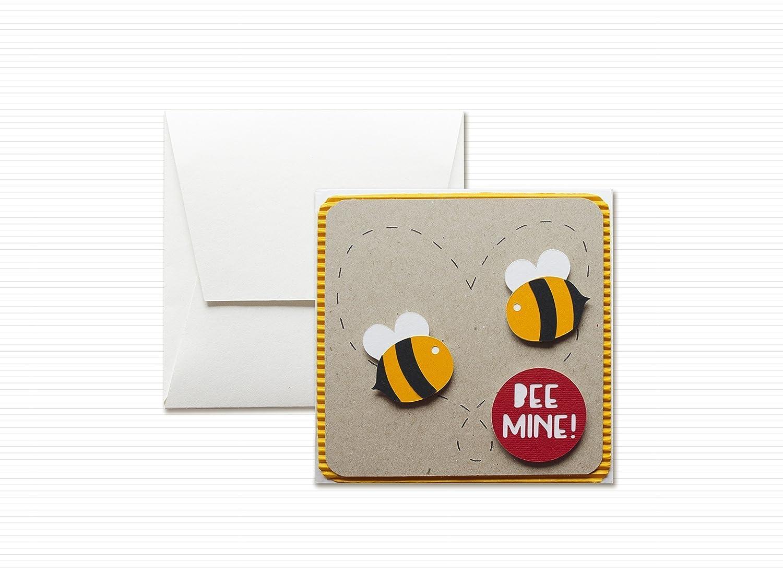 Bee mine - Abeja divertida - dí a de San Valentí n - enamorado - tarjeta de felicitació n y sobres (formato 12 x 12 cm) - vací o por dentro, ideal para su mensaje personal - totalmente artesanal.