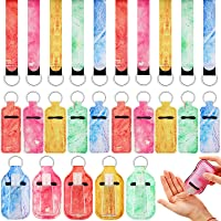 30 Pieces Marble Travel Bottle Keychain Holder Marble Chapstick Holder Reusable Bottle Containers Set with Wristlet Keychain Lanyards Lipstick Protective Cases for Women Traveling (Bright Color)