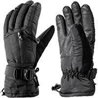 Enkeeo Unisex Insulated Winter Ski Gloves (Black)