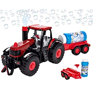 Bubble Farm Tractor Truck Toy Bump & Go Bubble Blowing Tractor Truck Carrying Trailer Battery Operated w/ Music and Flashing Lights , Farmer Car Toy
