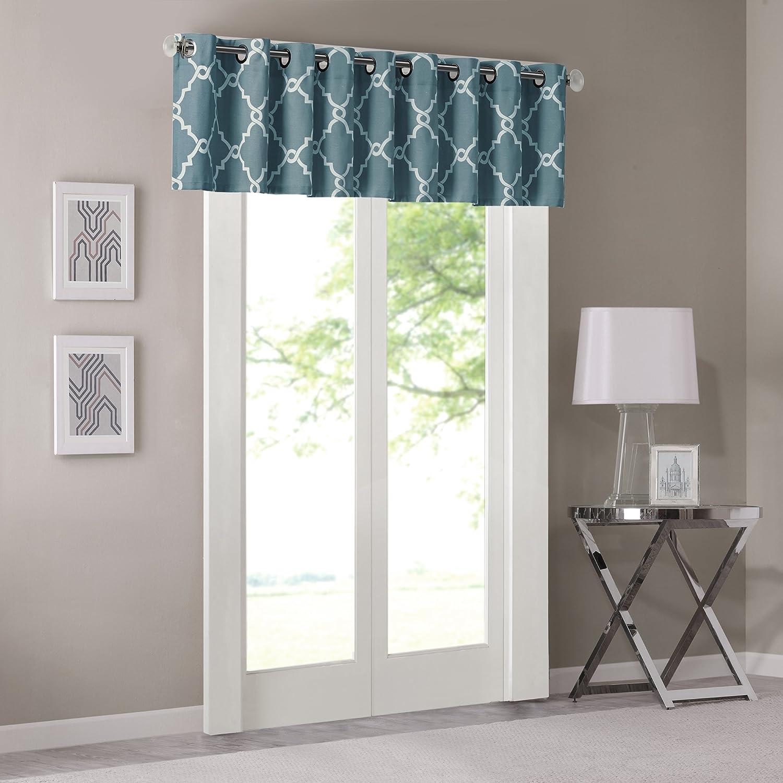 Madison Park Saratoga Fretwork Print Grommet Top Window Valance Blue 50x18