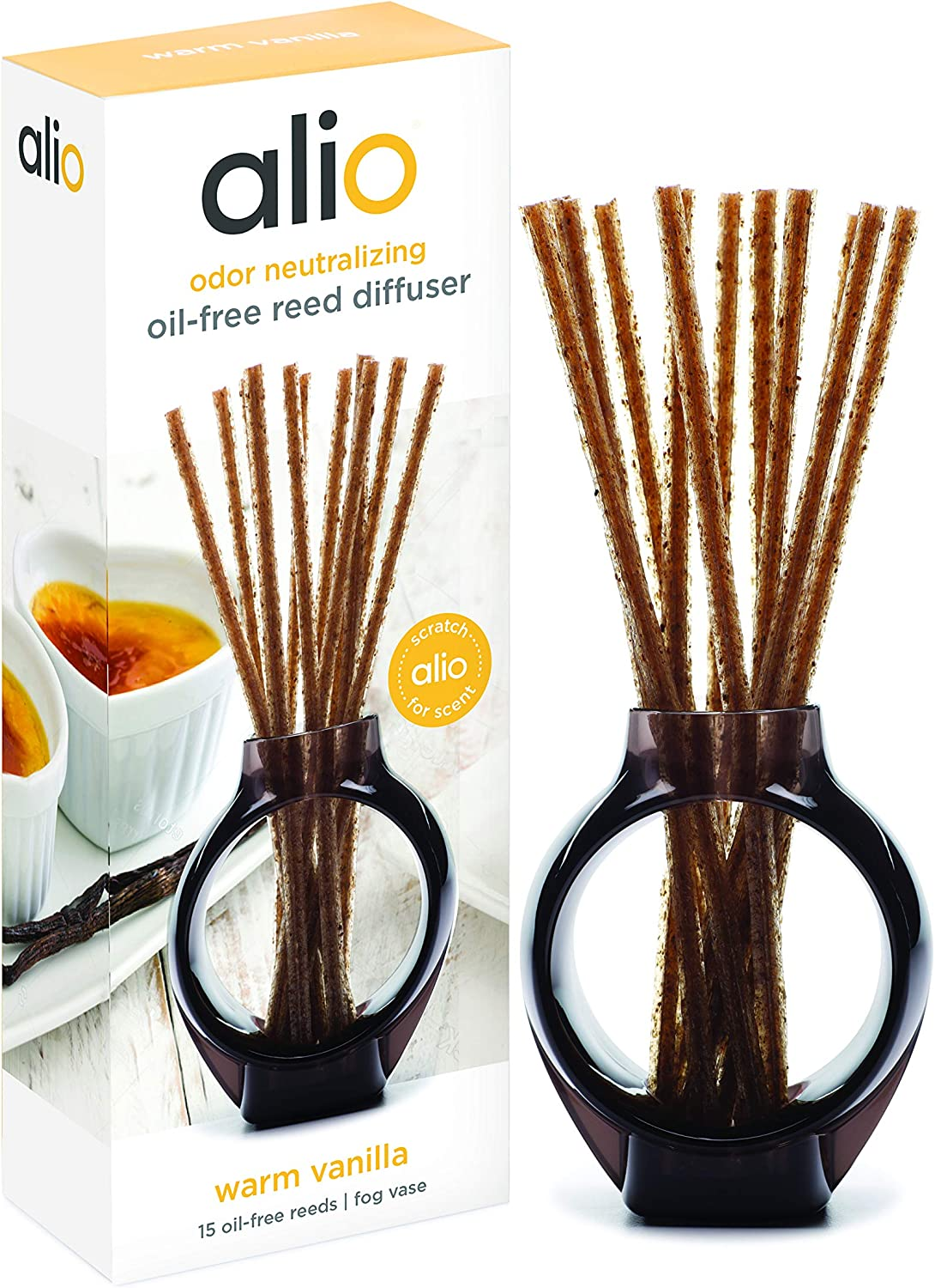 ALIO Oil-Free Reed Diffuser – Warm Vanilla – Odor Neutralizing with Subtle Scent, Pet and Eco Friendly – Set of 15 Oil-Free Reeds and Signature Vase – No Oils, Sprays, Plug-Ins, or Flames Required