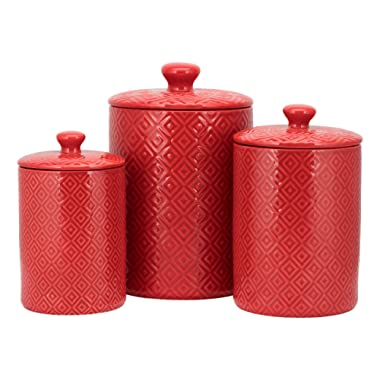 10 Strawberry Street CAN RED Diamond Kitchen Canister Set, Set of 3,