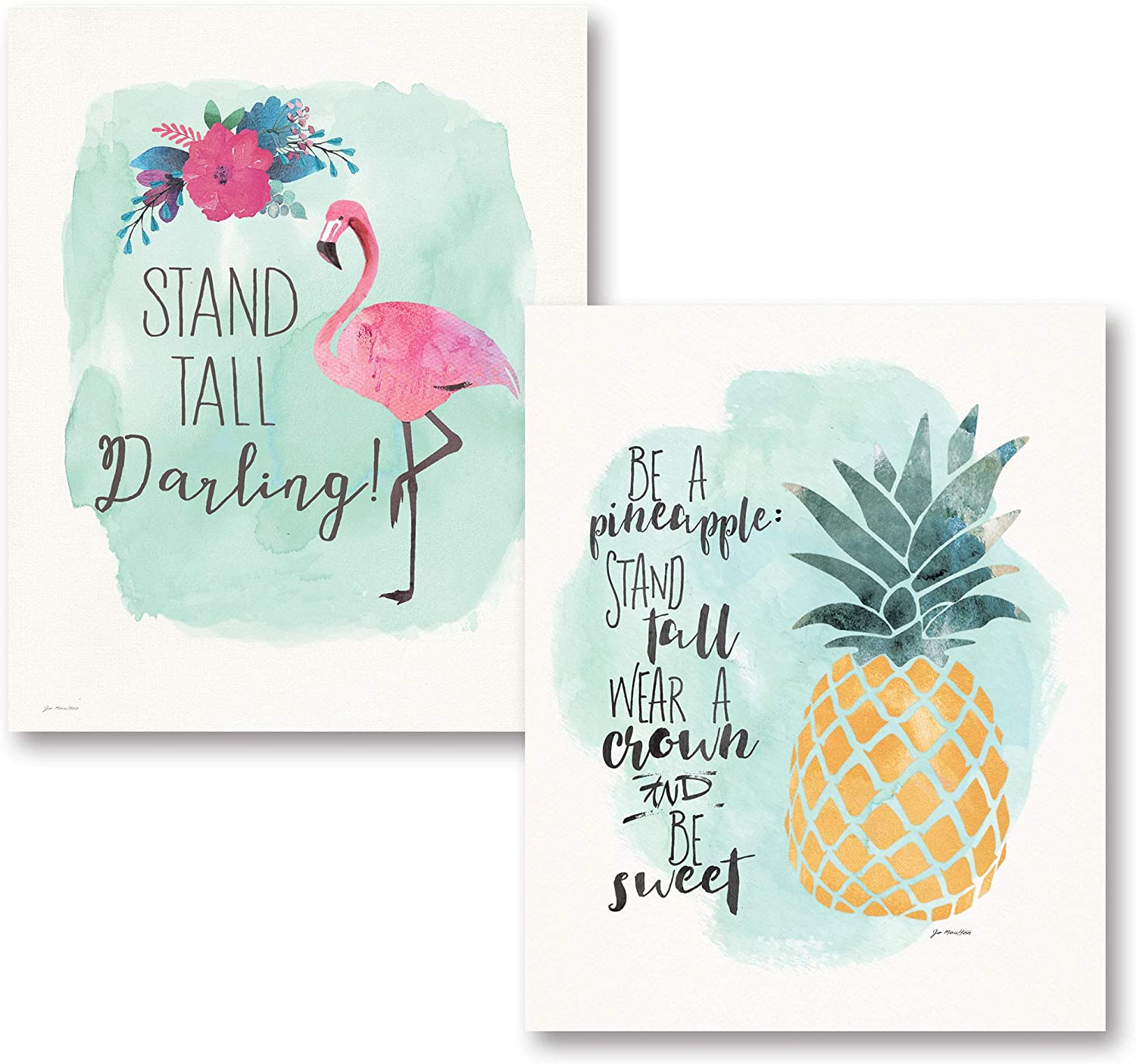 Gango Home Décor Tropical Inspirational Watercolor Flamingo Pineapple Be A Pineapple: Stand Tall, Wear A Crown Be Sweet Stand Tall Darling Set; Two 11x14in Unframed Paper Poster Prints