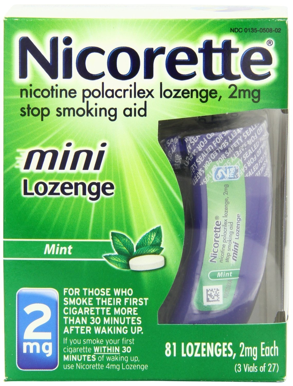 Nicorette Mini Stop Smoking Aid Lozenge Mint 2 mg, 81 count (Pack of 1)