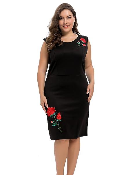 Chicwe Mujeres Tallas Grandes Elástico Vestido Recto Scuba con Rosa Bordado - Vestido Casual en Oficina