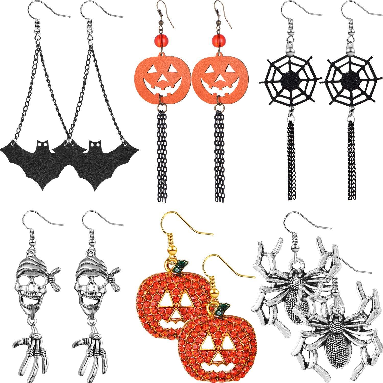 6 Pares Pendientes de Halloween Pendientes Colgantes Pendientes de Aaraña de Telaraña de Calabaza para Mujeres Niñas Suministros