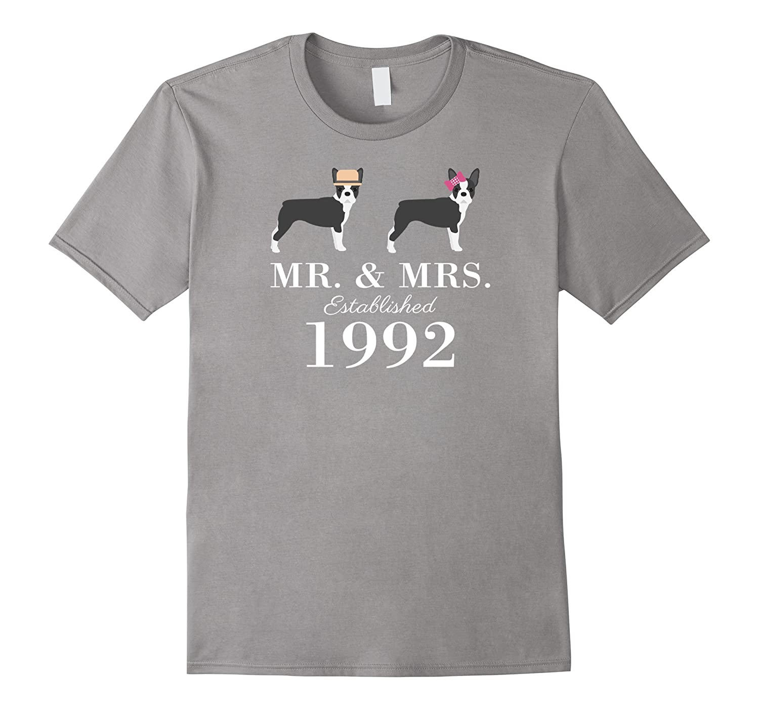 25th Wedding Anniversary Boston Terrier lovers T-Shirt-TH