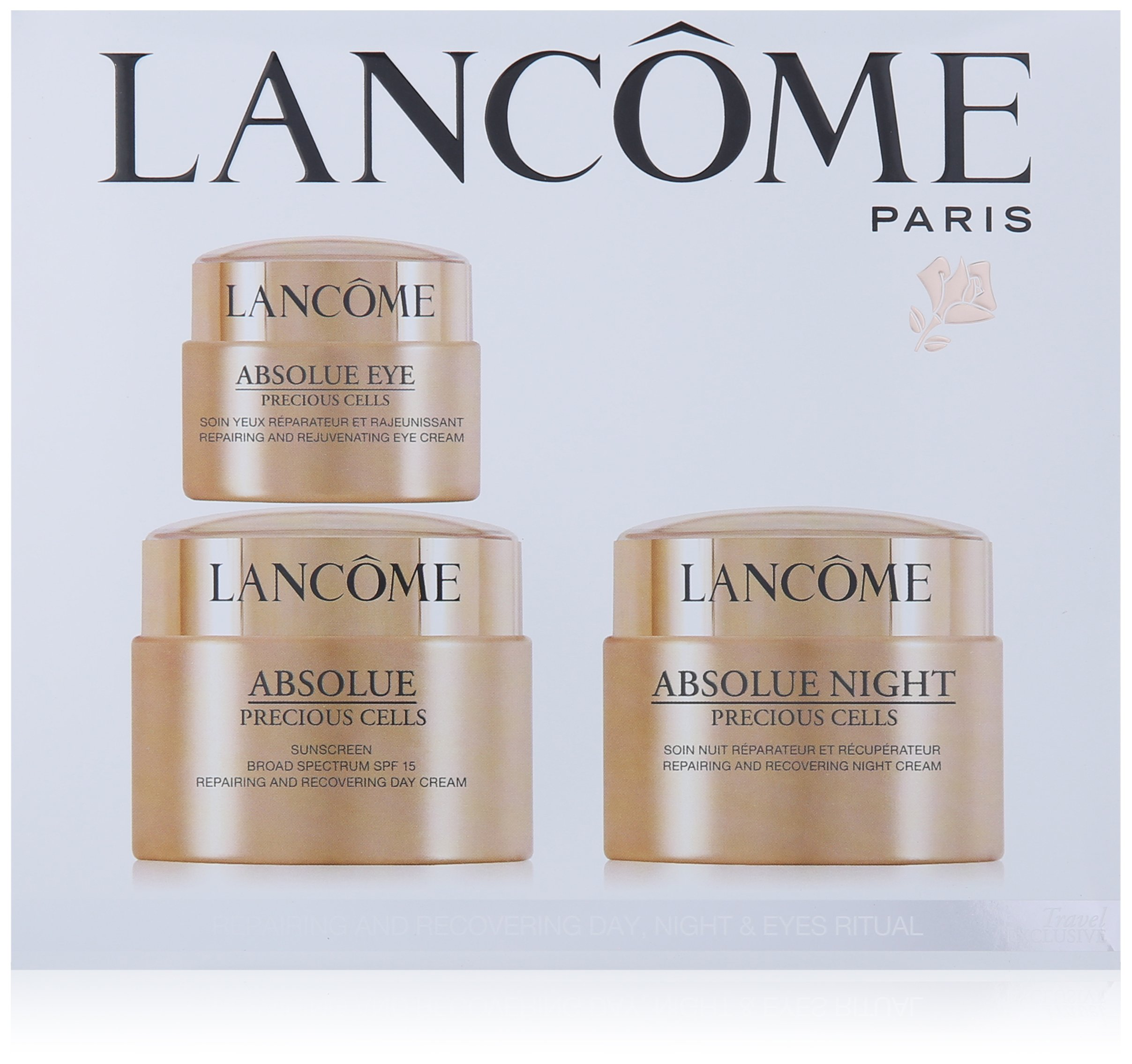 Absolue Precious Cells Repairing And Recovering Day-Night & Eyes Ritual by Lancome for Unisex - 3 Pc Kit 1.7oz Day Cream Sunscreen Broad Spectrum SPF 15, 1.7oz Night Cream, 0.7oz Eye Cream