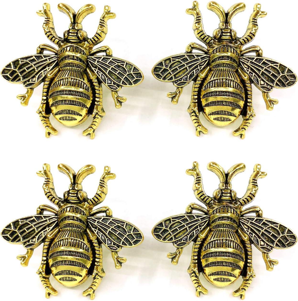ZTie Bees Drawer knobs for Natural Home Furniture Decorations Cabinet Knobs Bathroom Decor Dresser Pulls Handles Housewarming Gift (Antique Gold (Set of 4 pcs))