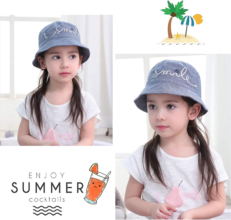 Ragazze Cappello da Sole Denim Cappello da Pescatore Estate per Bambine Cappello da Bimba Primavera Autunno Vacanza Spiaggia Anti UV 0-8 Anni