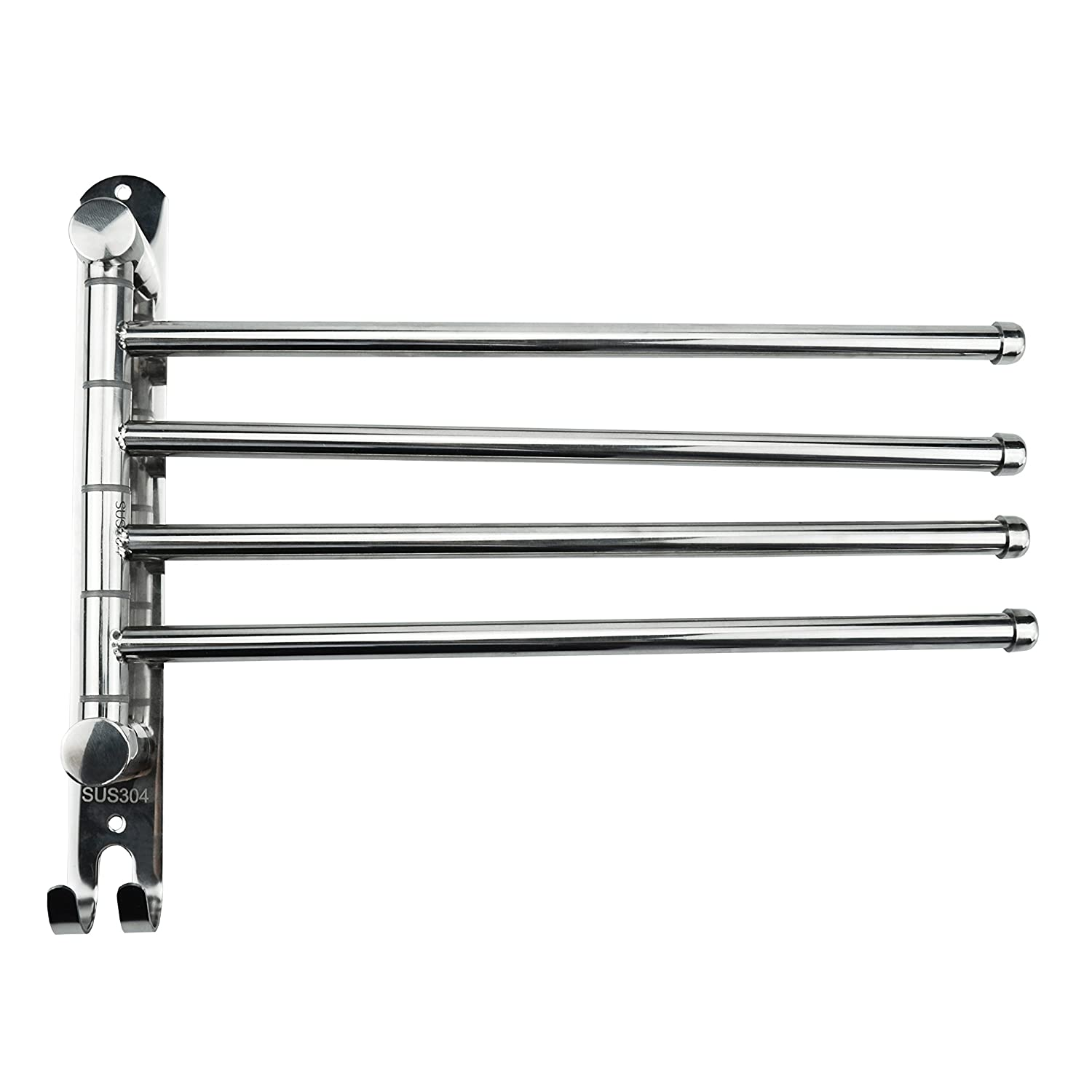 Little World Towel Rack Wall Mounted Swing Towel Bar - Silver Stainless Steel Bath Towel Rod Arm, Bathroom/Kitchen Swivel Hanger Holder Organizer Folding Space Saver Towel Rail - 4 Bars LWMJJF01