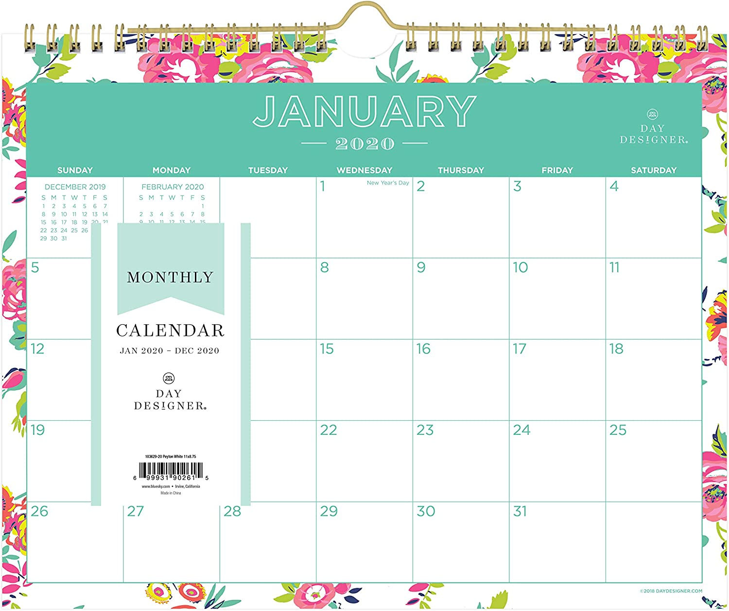 Day Designer for Blue Sky 2020 Monthly Wall Calendar, Twin-Wire Binding, 11