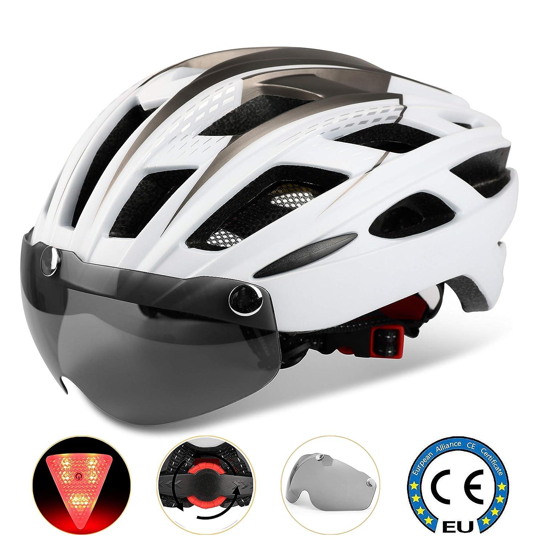 Casco bicicleta/Casco Bicic con luz,Certificado CE, casco bicicleta adulto con Visera Magnética Desmontable Gafas de Protección Super Light Casco Integral de Bicicleta Skateboarding Ski & Snowboard Shinmax