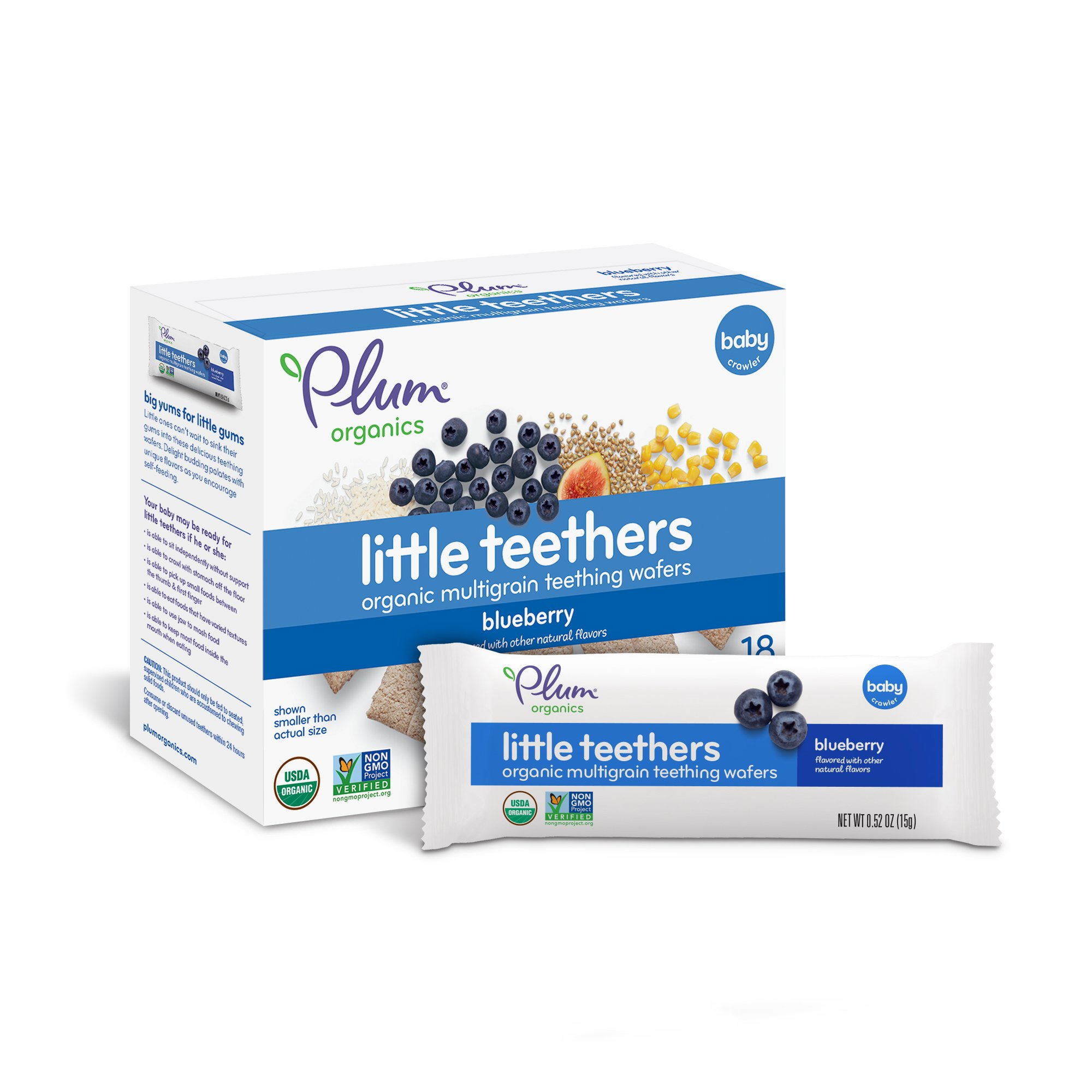 Plum Organics Little Teethers, Organic Baby Teething Wafers, Blueberry, 3 oz, 6 count (Pack of 6)