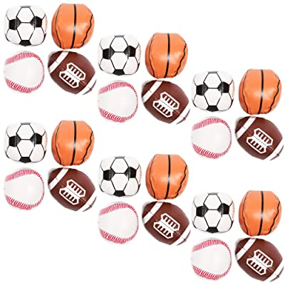 Foam Sports Balls for Party Favors, Squishy Stress Reliever (24 Pack): Toys & Games