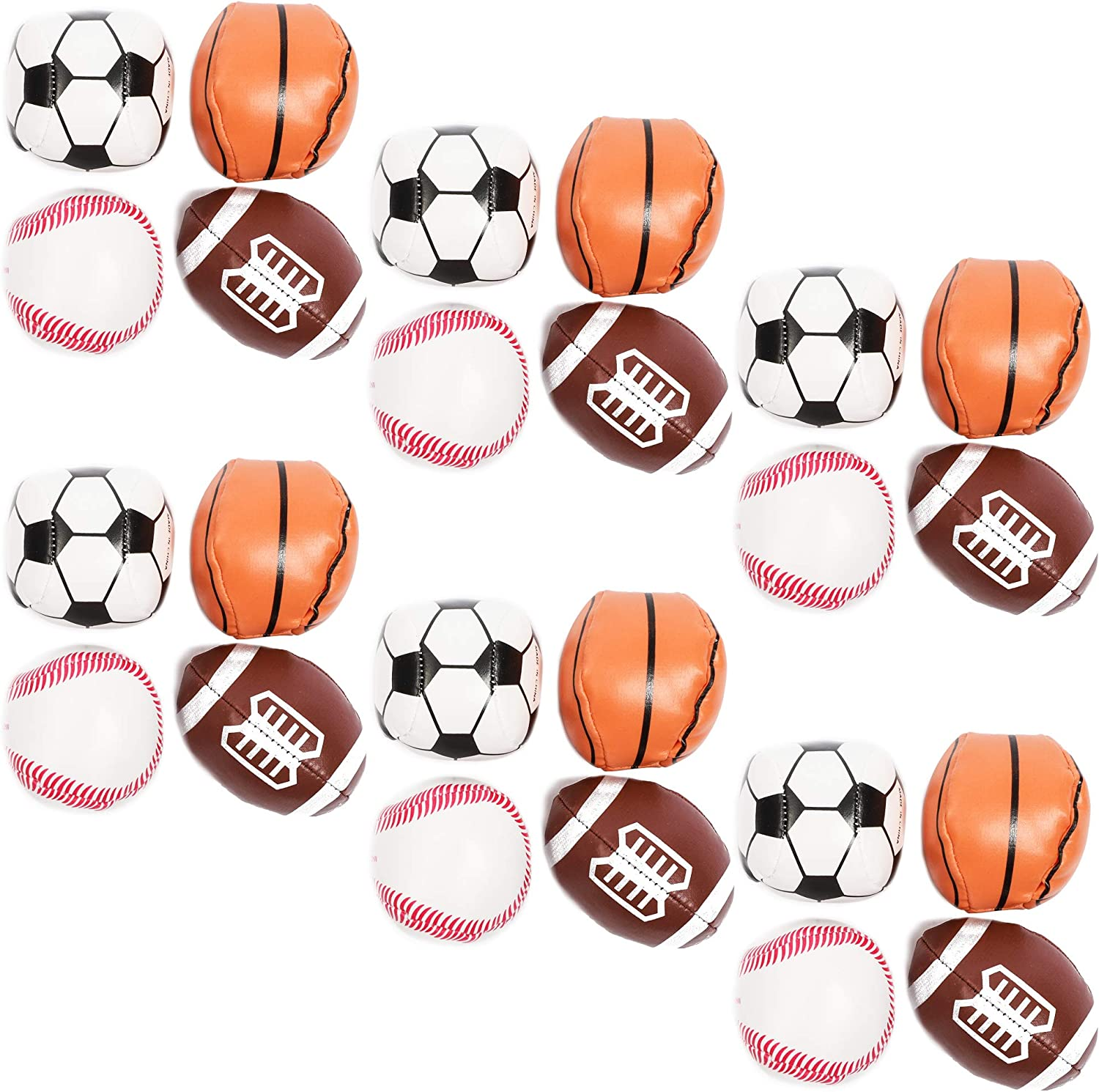 Foam Sports Balls for Party Favors, Squishy Stress Reliever (24 Pack)