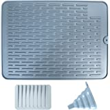 BAYUTE Silicone Drain Pad,Silicone Dish Drying Mats, silicone funnel and silicone soap dish. Environmentally friendly and hea