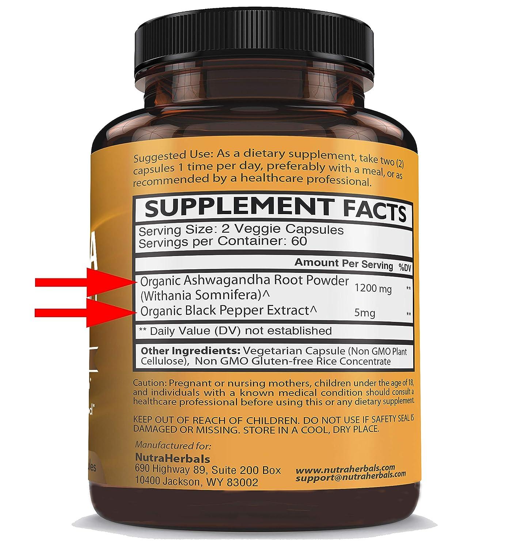 8b7a2978c74a Amazon.com  Organic Ashwagandha Root Powder 1200mg - 120 Veggie Capsules -  Ashwaganda Supplement – Black Pepper Extract for Increased Absorption   Health ...