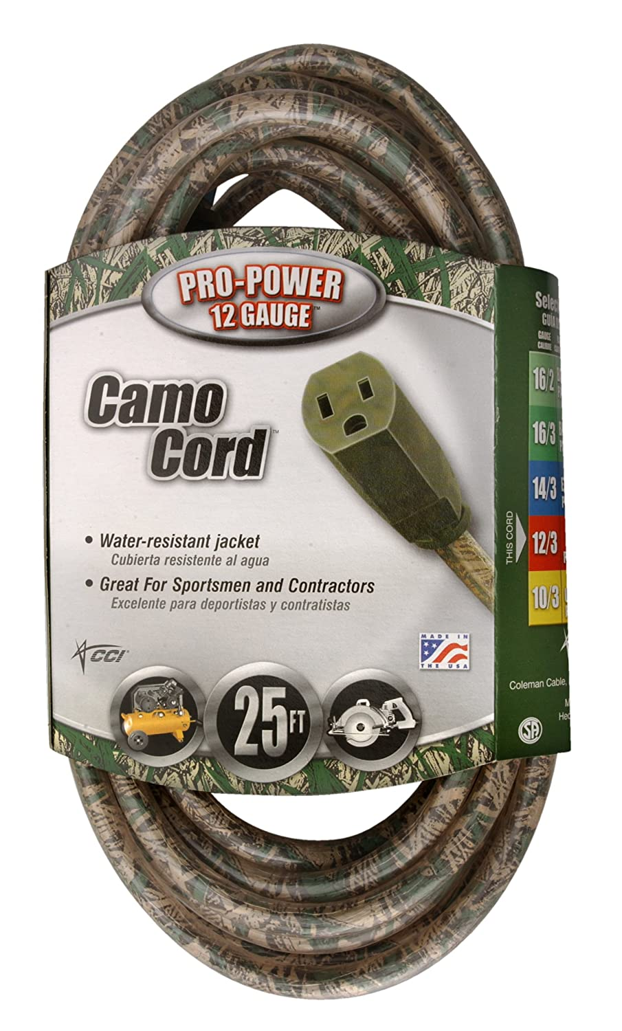 Green//Beige 02597-00-AA Coleman Cable 02597 12//3 25-Foot Outdoor Camouflage Cord