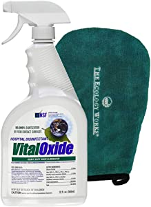 Vital Oxide Disinfectant, Deodorizer, Cleaner - Kills Mold & Mildew, Eliminates Odors (32 oz) - with Bonus Applicator Mitt
