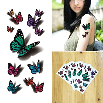 8a481d32291e7 Amazon.com : COKOHAPPY 5 Sheets Temporary Tattoo 3D Flying Butterfly for  Women Girls Lower Back Shoulder Neck Arm : Beauty