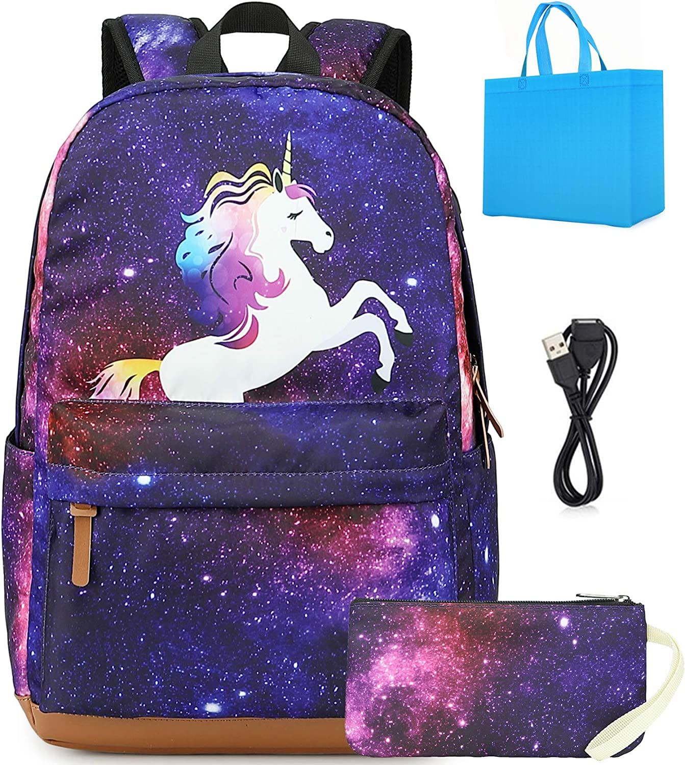 School Backpack for Girls Purple Lightweight Laptop Backpack fits 15.6 inch Kids School Bookbag Galaxy Casual Daypack with USB Port 2 Packs