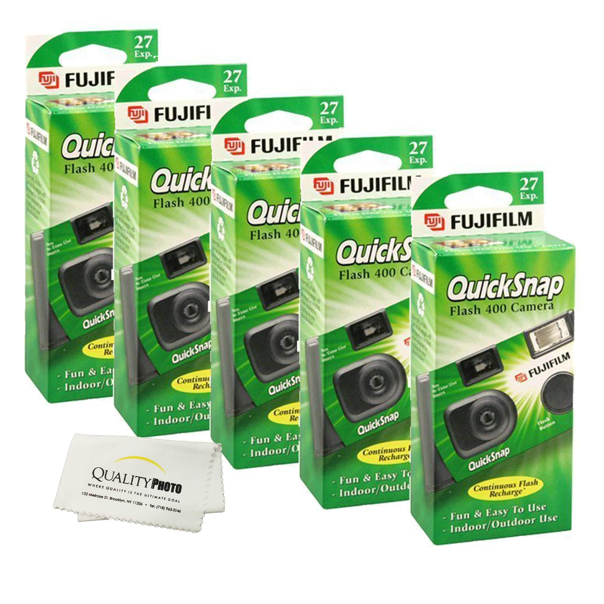 Fujifilm QuickSnap Flash 400 Disposable 35mm Camera + Quality Photo Microfiber Cloth (5 Pack)