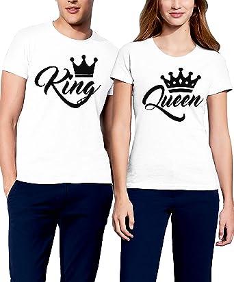 VIVAMAKE Pack 2 Camisetas para Mujer y Hombre Originales con Diseño King y Queen: Amazon.es: Ropa y accesorios