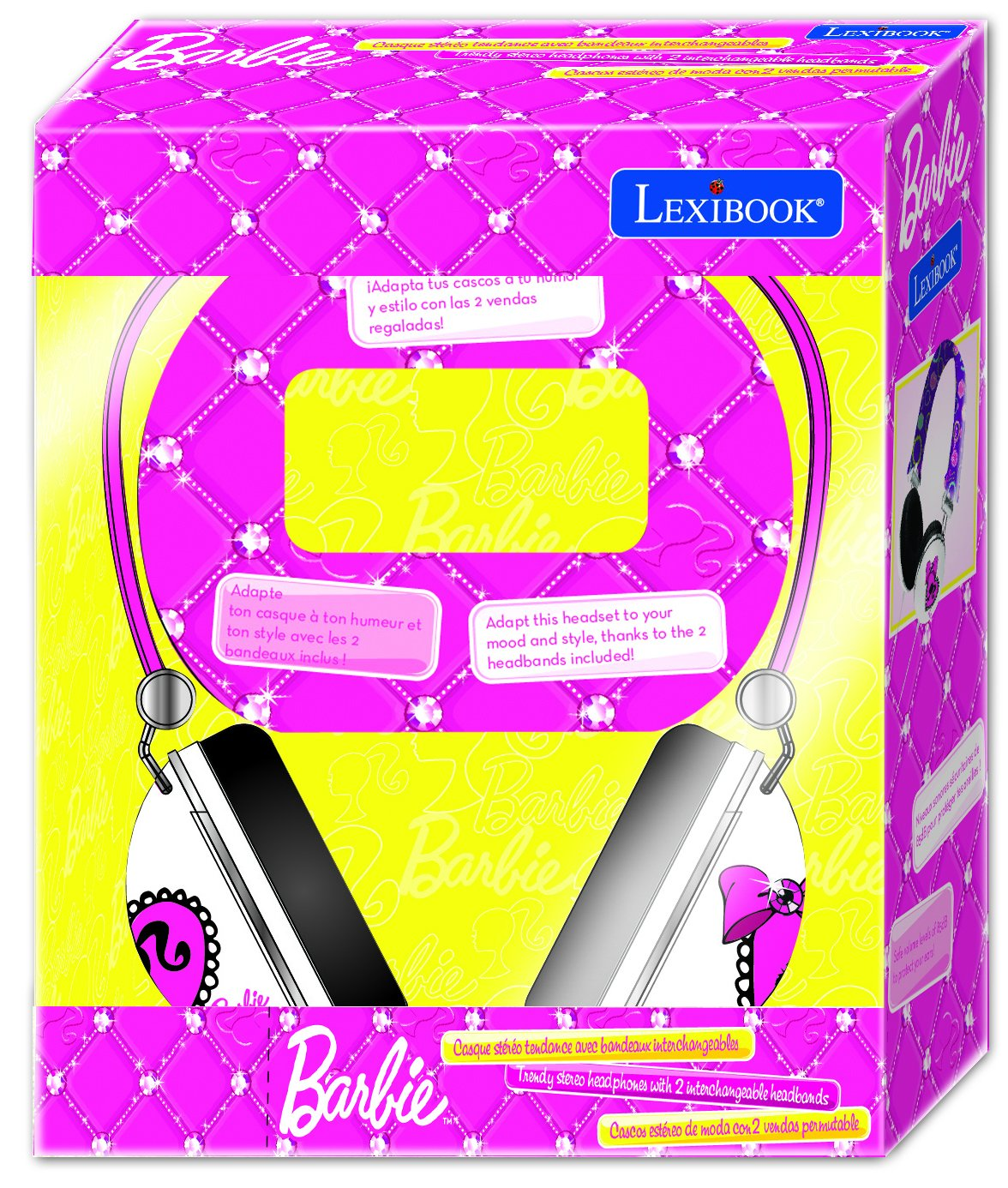 Amazon.com: Lexibook Barbie Stereo Headphones with 2 x Trendy Interchangeable Headbands: Electronics