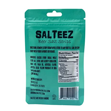 Salteez Beer Salt Strips - Real Salt & Lime Flavor Strips That Stick to  Your Bottle, Can, or Cup - For a