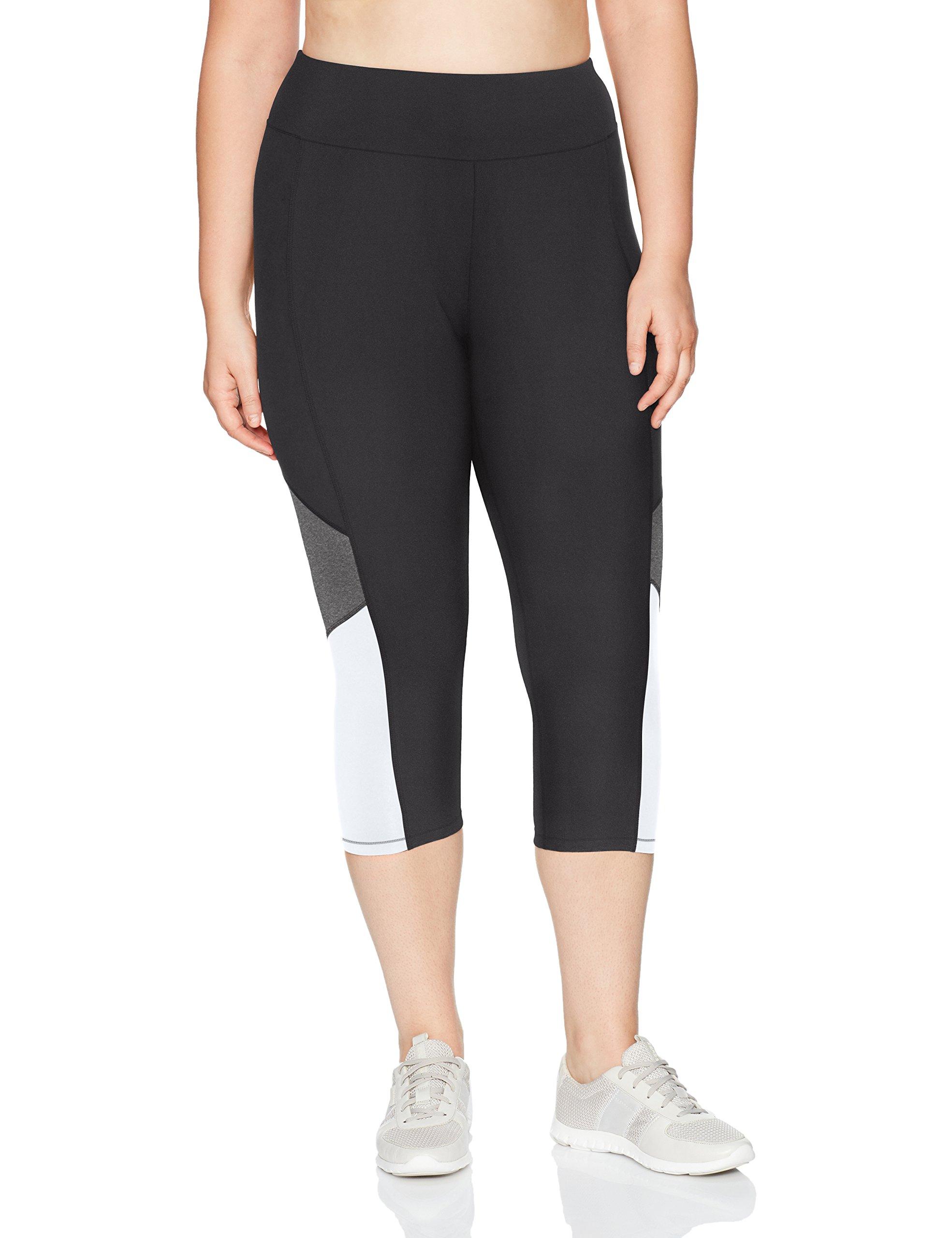 Just My Size Women's Plus Size Active Pieced Stretch Capri, Black/Granite Heather/White, 3X