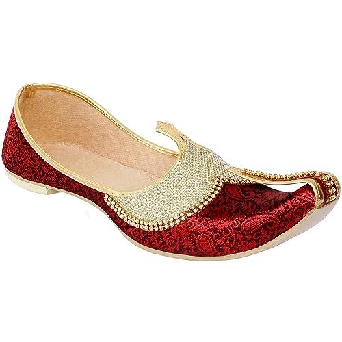 78ff23d1ab87 Krafto Men s Red Gold Sherwani Jutti  Amazon.in  Shoes   Handbags