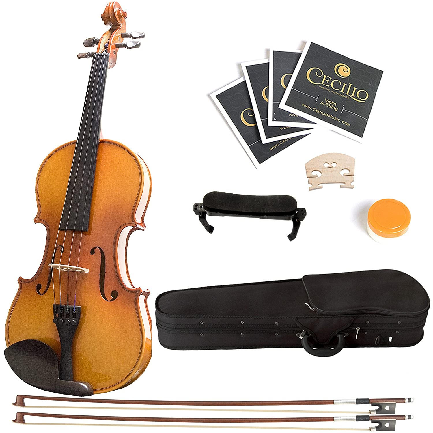 Mendini 1/4 MV400 Ebony Fitted Solid Wood Violin with Hard Case, Shoulder Rest, 2-Bows, Rosin, Extra Bridge and Strings 1/4MV400 1/4MV400+SR