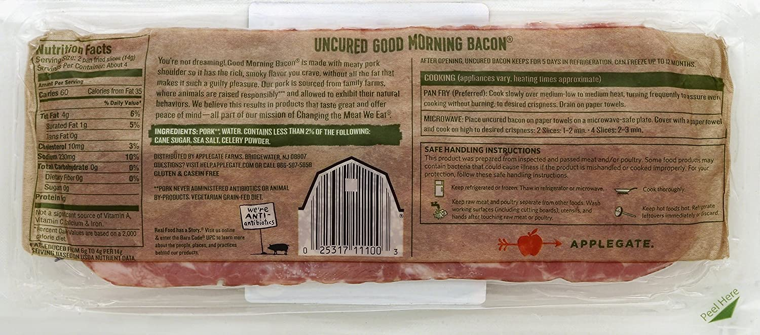 Applegate, Natural Good Morning Bacon, 8 Oz: Amazon: Grocery & Gourmet  Food Smoked Pork Belly Recipe