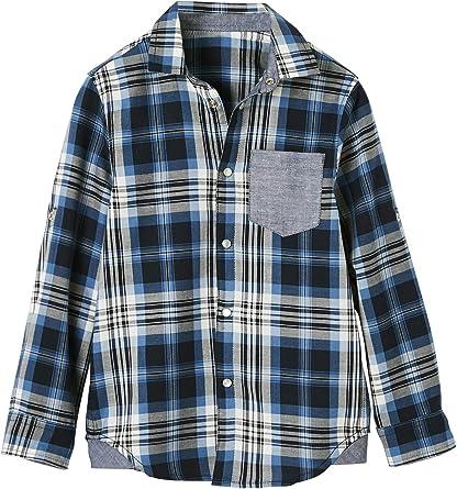 VERTBAUDET Camisa a Cuadros para niño con Motivo Grande en la Espalda Azul Oscuro A Cuadros 2A: Amazon.es: Ropa y accesorios