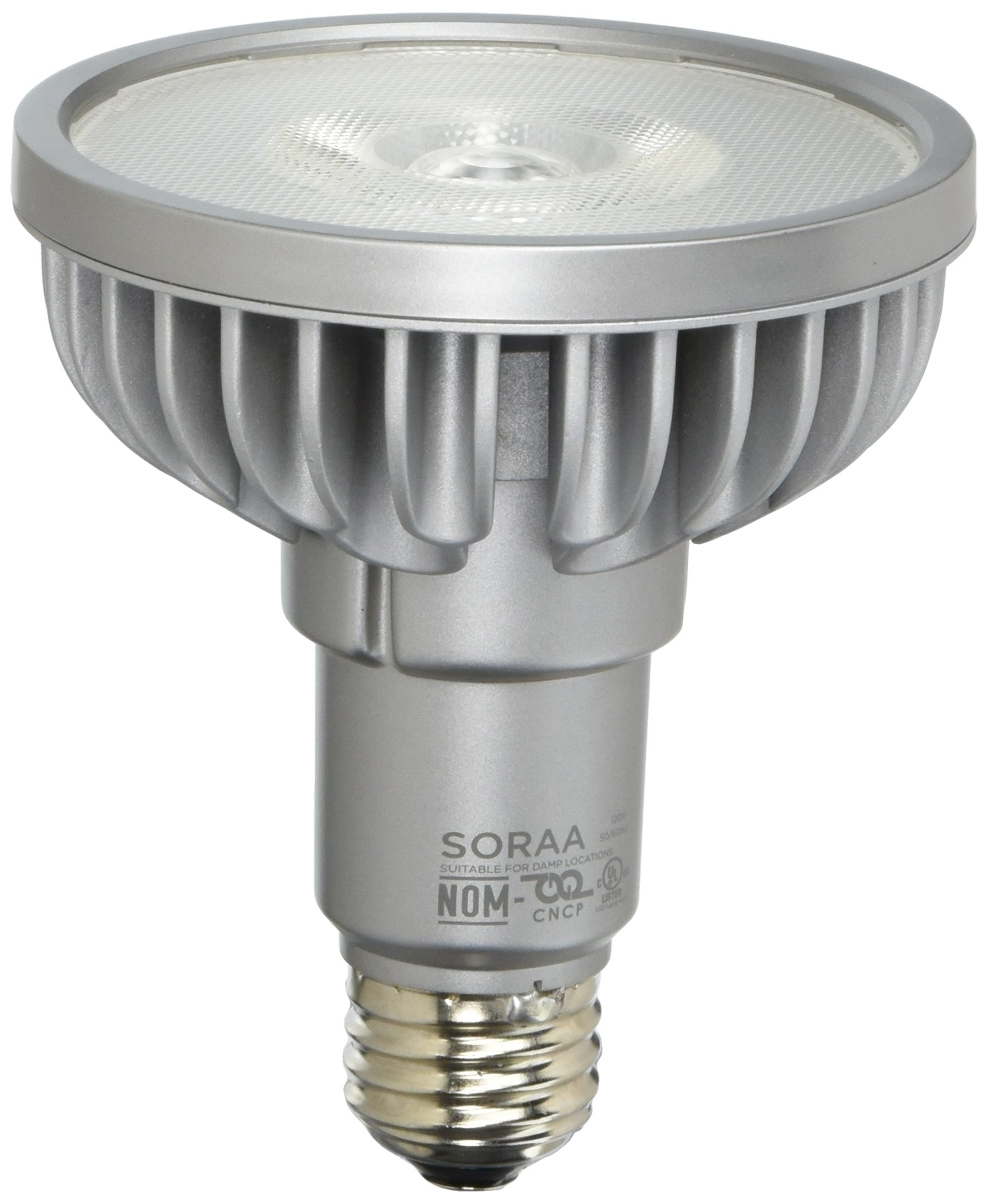 Bulbrite SP30L-18-25D-830-03 SORAA 18.5W LED PAR30L 3000K PREM. 25° Dimmable Light Bulb, Silver