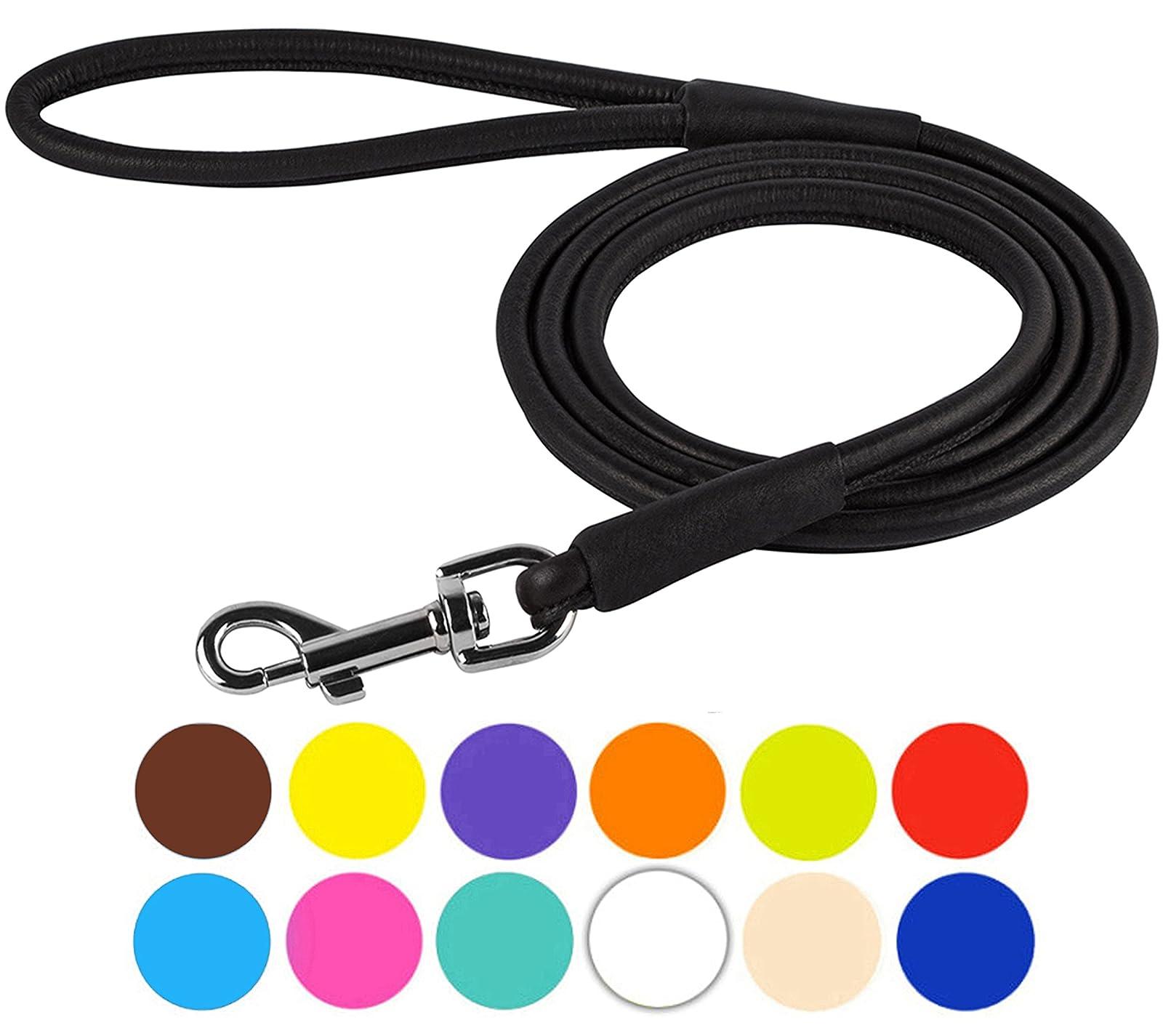 CollarDirect Rolled Leather Dog Leash 4ft Soft - 10