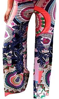 c8be88c3cad5e YiyiLai Femme Pantalon Colonne Imprimé Aztèque Taille Elastique Jampe Loose
