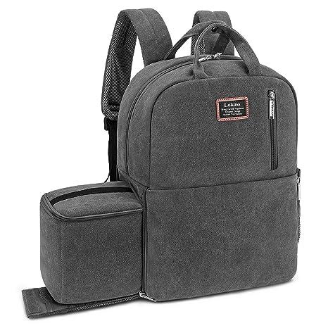 LOKASS Travel Camera Backpack SLR DSLR Camera Bag Large Camera Case Canvas  Outdoor 15.6 a5beac985e59b