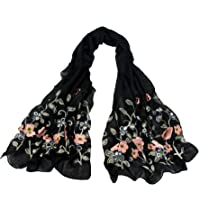 Women Long Scarf Infinity Shawl - P050(2018 New Design) Lightweight Flowers Embroidery Loop Ideal Gifts for Mothers',Girlfriends,Colleague and Yourself