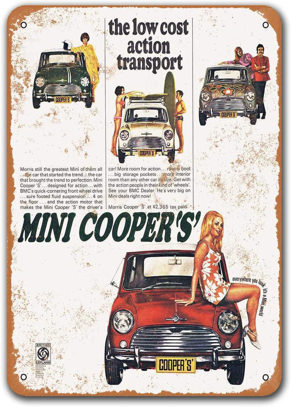 1969 Mini Cooper Car Metal Tin Sign, Sisoso Vintage Plaques Poster Bar Man Cave Retro Wall Decor 8x12 inch